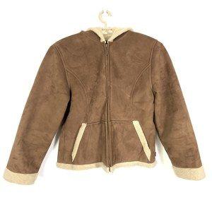 Mudd Brown Suede Shearling Sherpa Fur Coat Jacket
